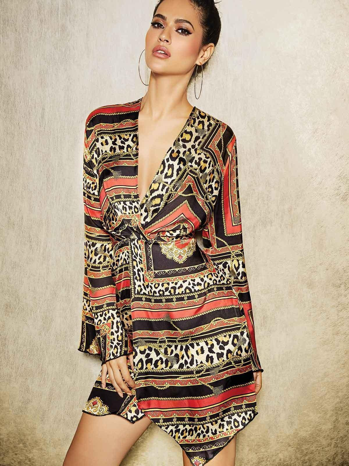 Show your wild side off to the world in this modern, animal print dress.