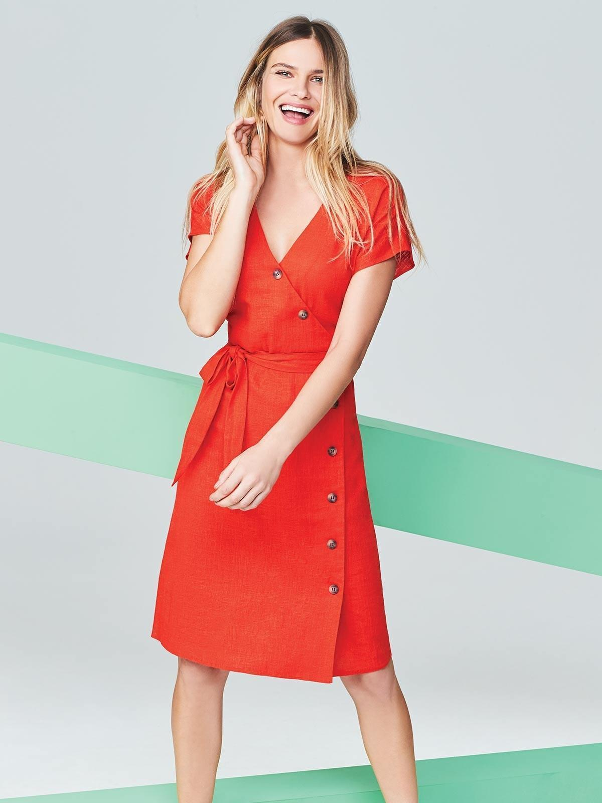 Our Red Asymmetric Button Front Linen Dress is perfect for date night