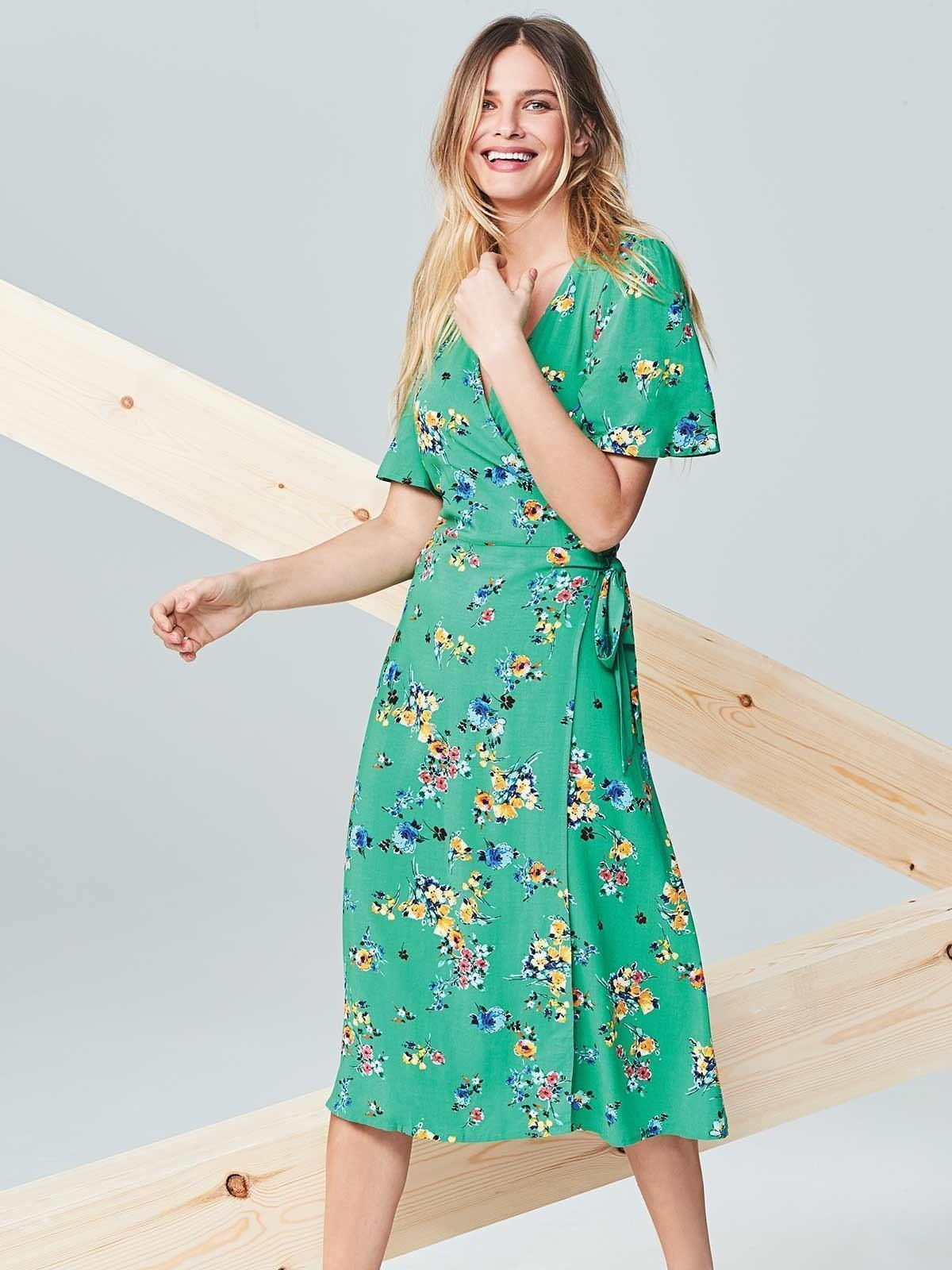 Womens Green Floral Wrap Dress