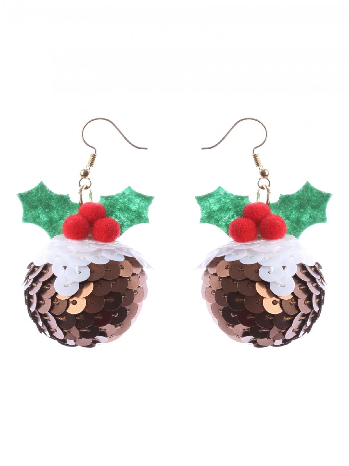 Christmas Pudding Outfit.Christmas Pudding Sequin Earrings