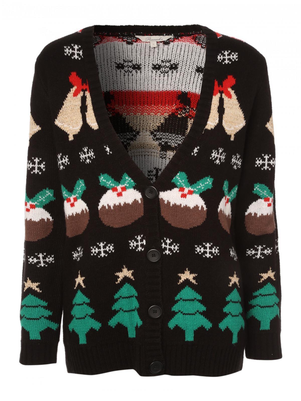 Christmas Cardigan.Womens Banded Christmas Cardigan Peacocks