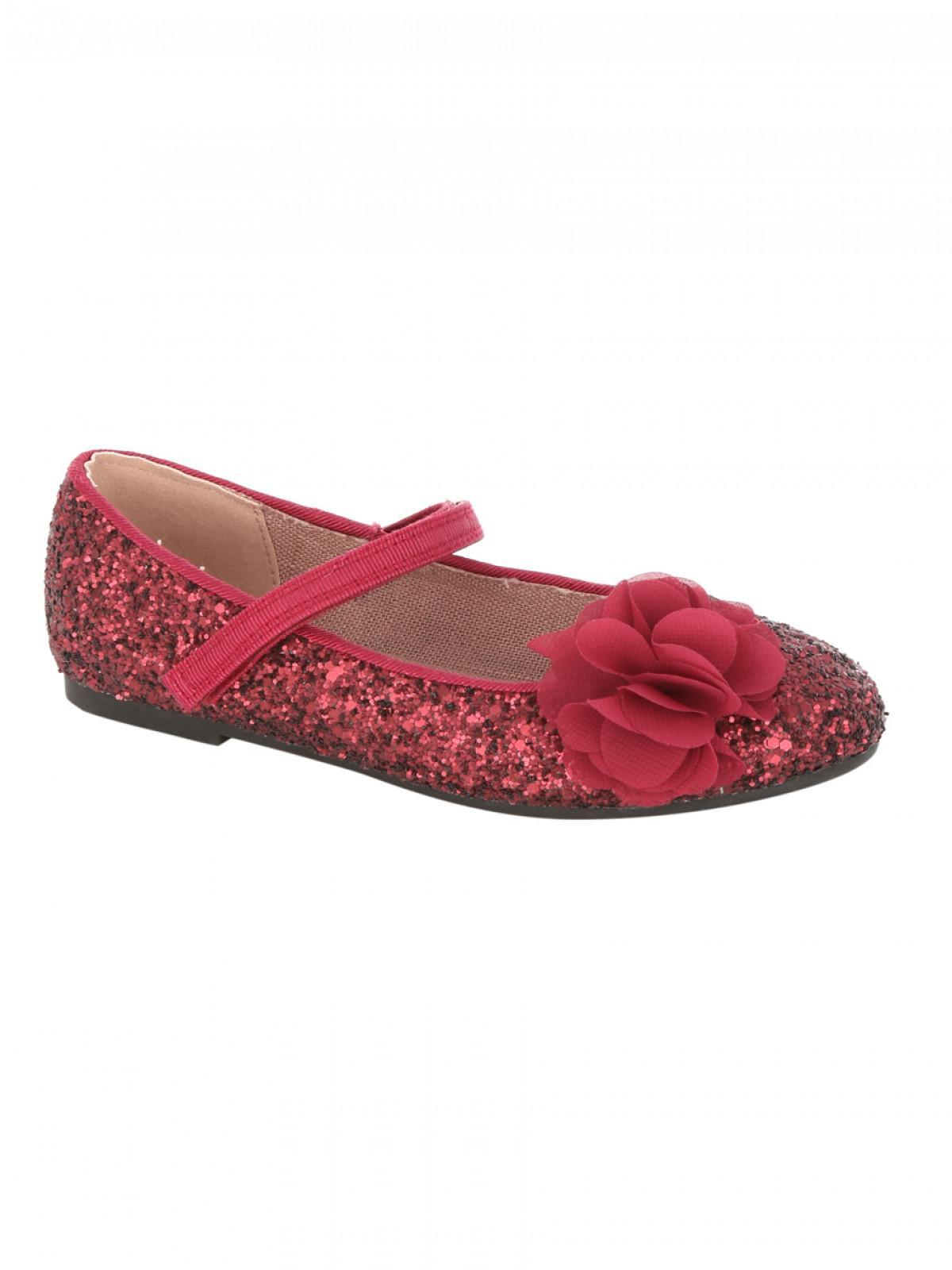 Christmas Shoes For Girls.Girls Younger Girls Flower Trim Glitter Christmas Shoes