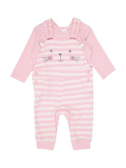 202766eb68f4 Girls Baby Girls Pink Cat Dungaree Set