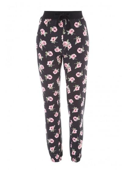 Womens Black Floral Soft Touch Pyjama Bottoms by Peacocks