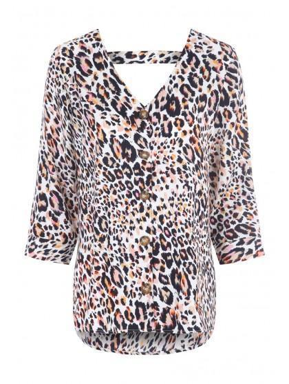 Womens Leopard Print Button Up Top by Peacocks