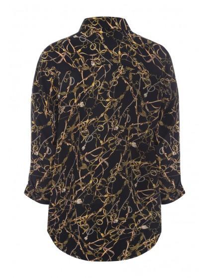 Womens Black Chain Print Oversized Shirt by Peacocks
