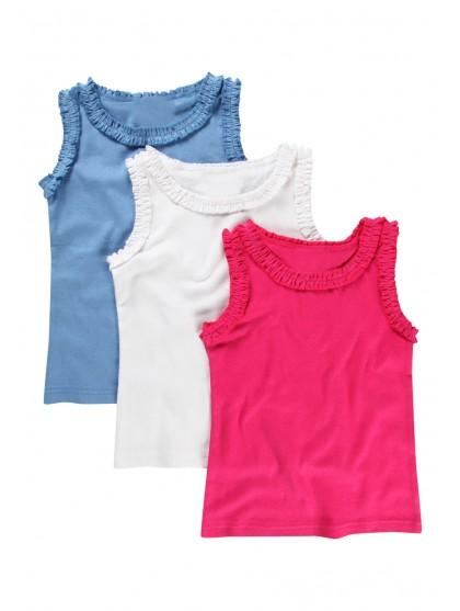 Younger Girls 3 Pack Frill Vests