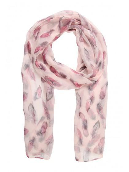 Womens Chiffon Feather Print Scarf