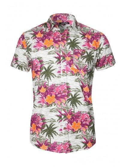 Mens Short Sleeve Floral Hawaiian Shirt