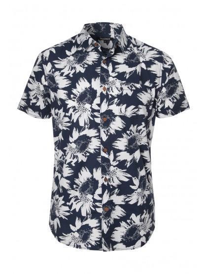 Mens Short Sleeve Sunflower Print Shirt