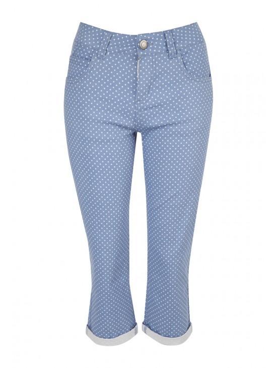 Womens Printed Crop Jeans