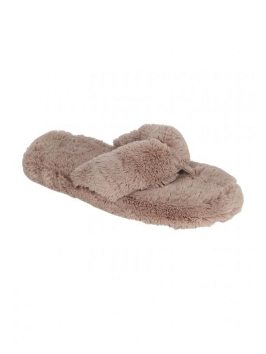 Womens Fluffy Plush Toe Slipper