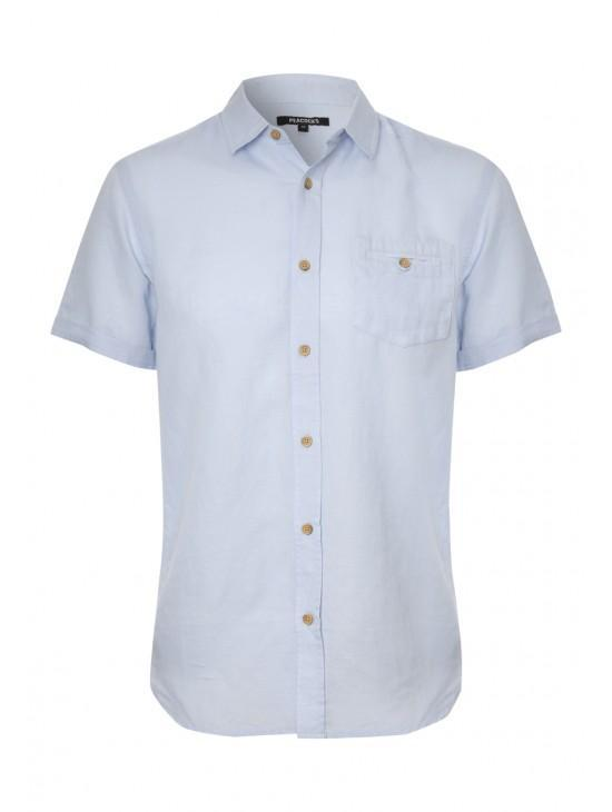 Mens Short Sleeve Linen Shirt