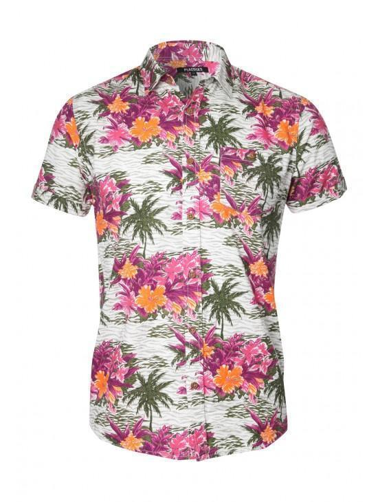 Mens Short Sleeve Floral Hawaiian Shirt