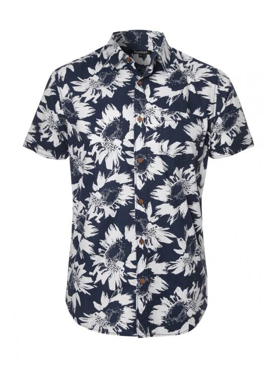Mens Short Sleeve Sunflower Print Shirt