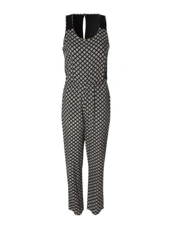 Womens Sleeveless Printed Jumpsuit