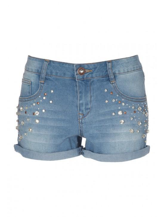 Womens Embellished Denim Short