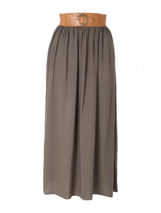 Womens Belted Maxi Skirt
