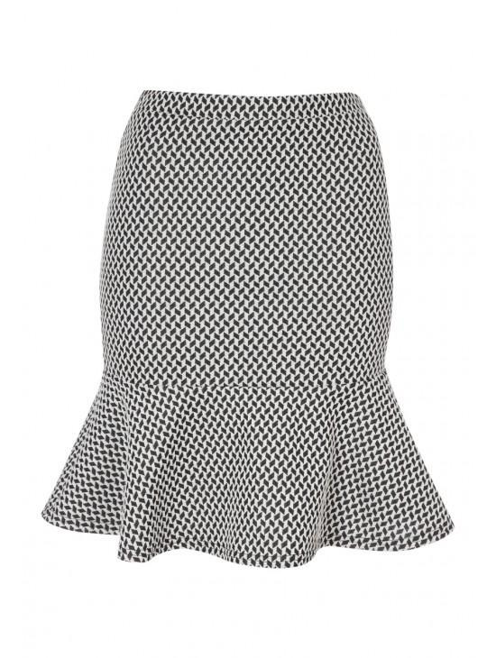 Womens Printed Peplum Skirt
