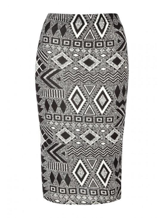 Womens Printed Midi Skirt