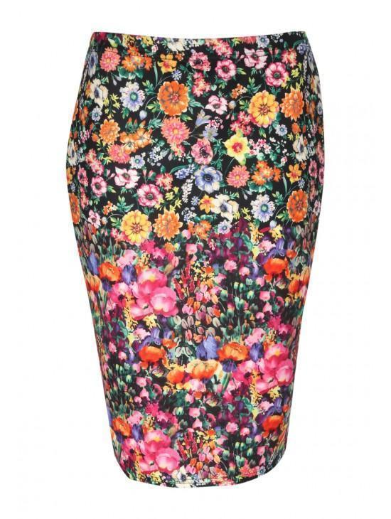 Womens Printed Scuba Skirt