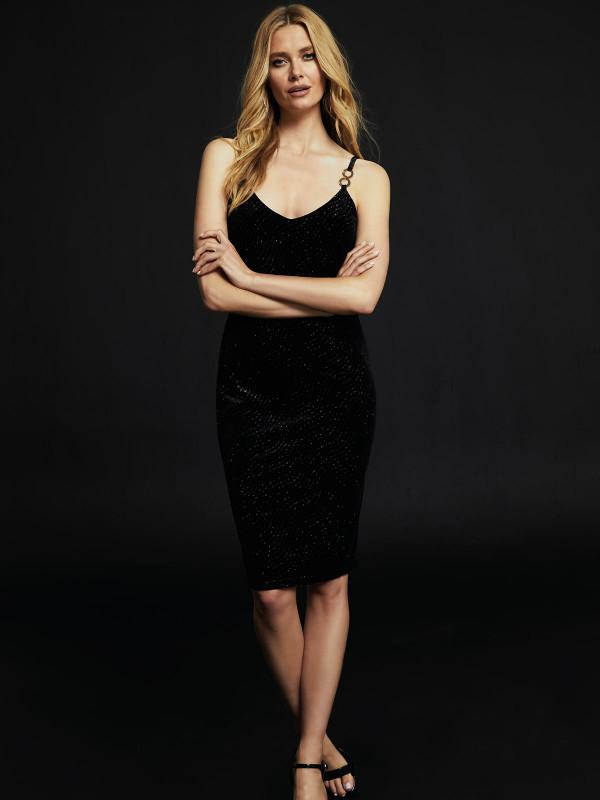 This black velvet dress is made for your work do, with the perfect length and a pretty, glittering finish.