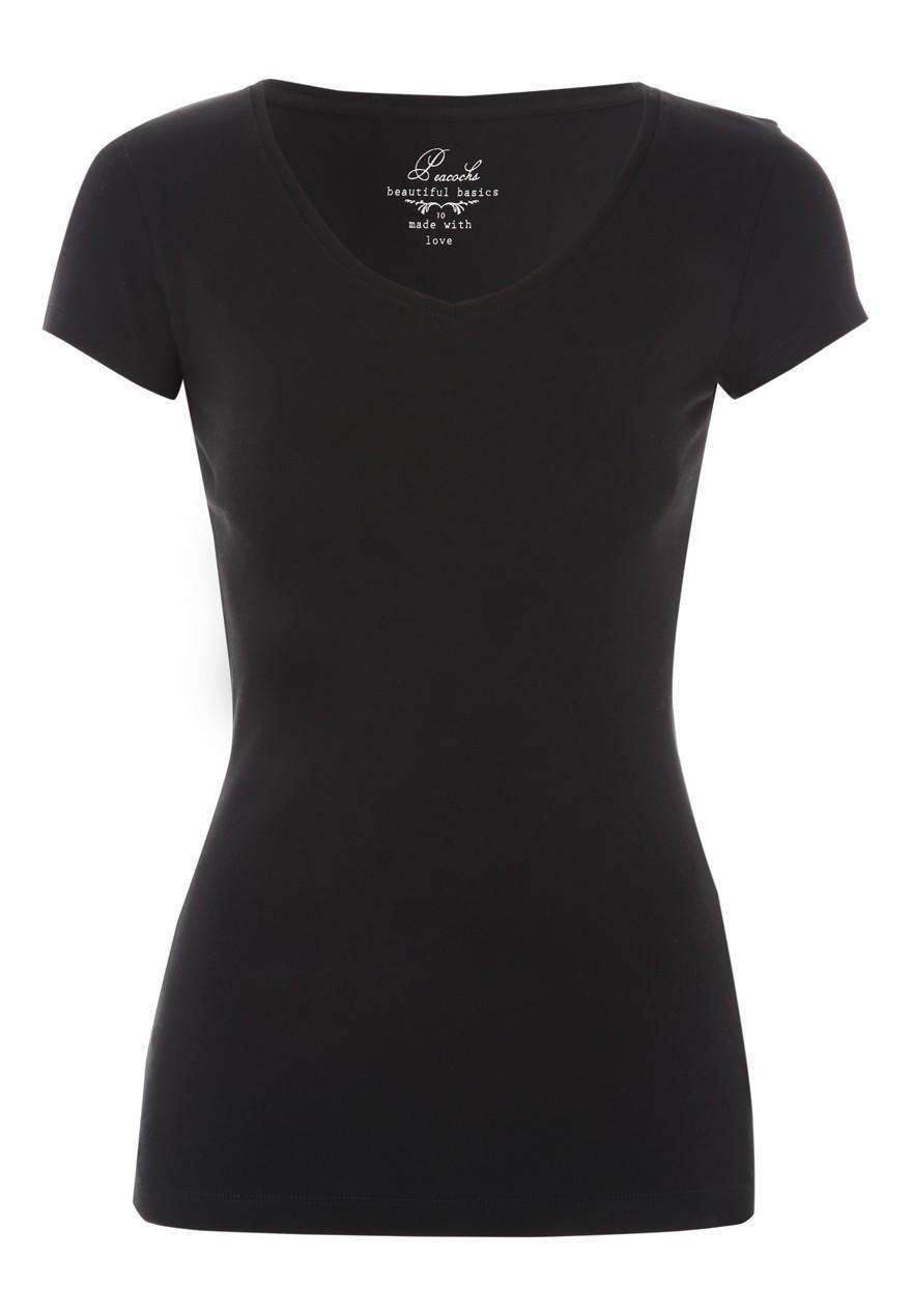 Womens Black V Neck T Shirt | Peacocks