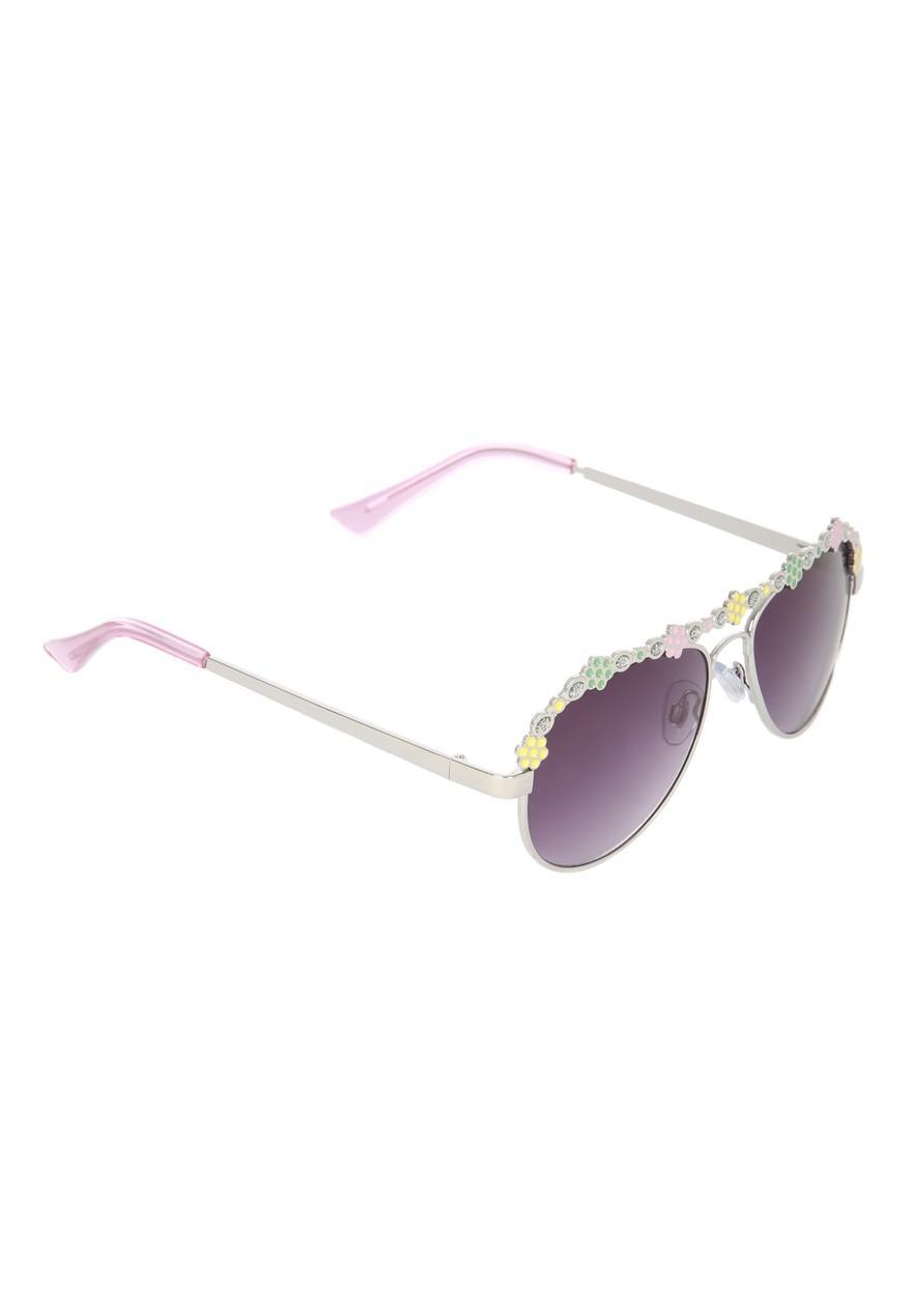 a078f3de8e127 Girls Floral Detail Aviator Sunglasses