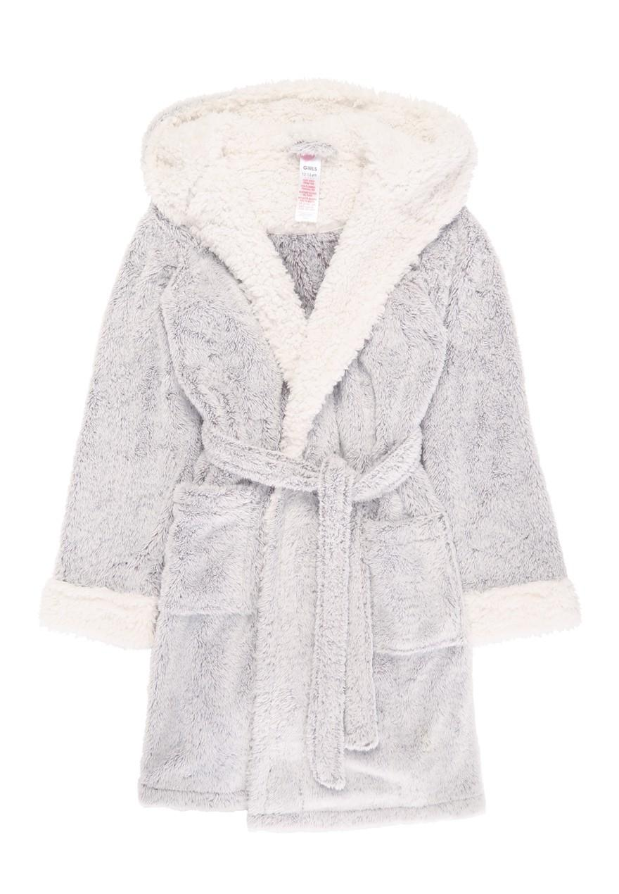 Girls Grey Sherpa Dressing Gown Peacocks