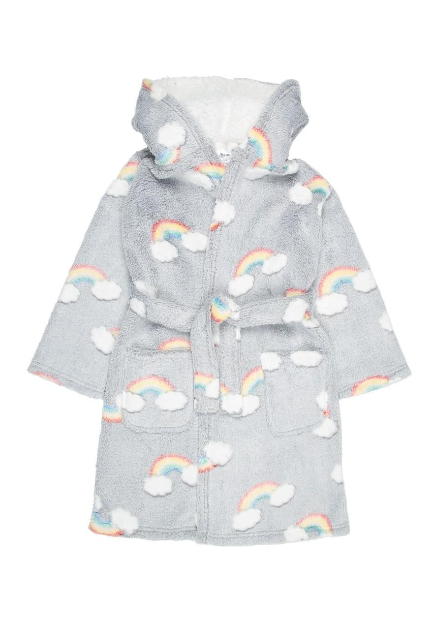 Girls Grey Rainbow Dressing Gown Peacocks
