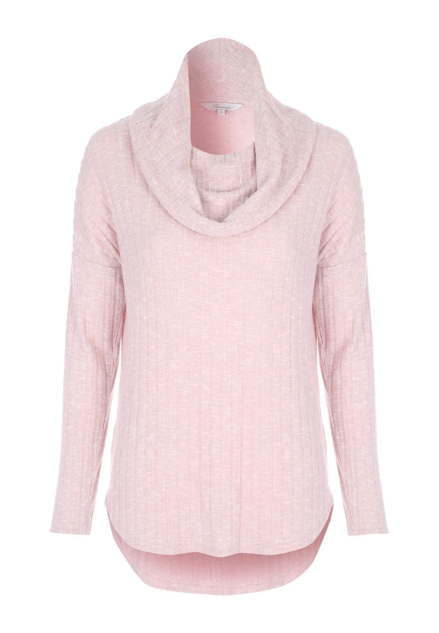 Womens Pale Pink Cowl Neck Sweater