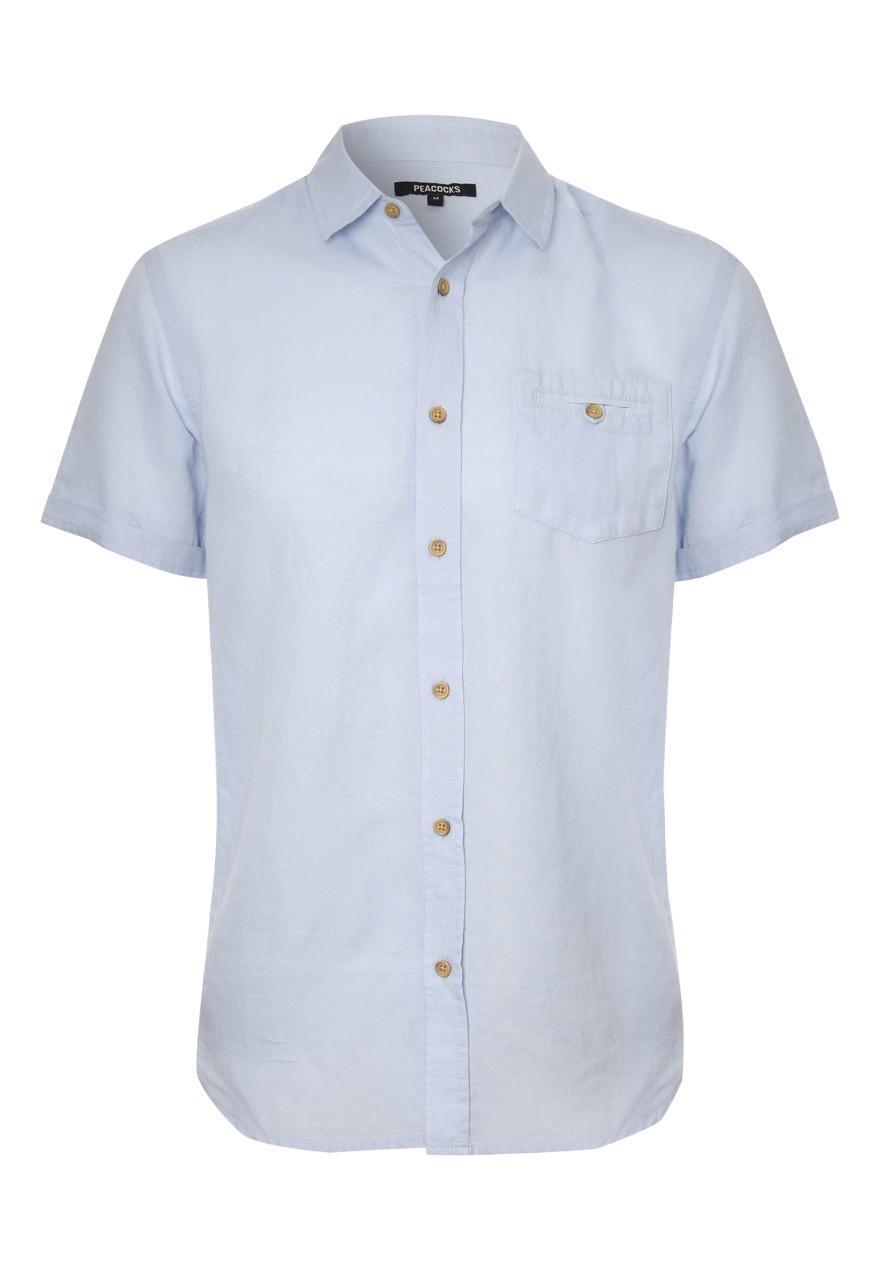 Mens short sleeve linen shirt peacocks for Mens light blue linen shirt