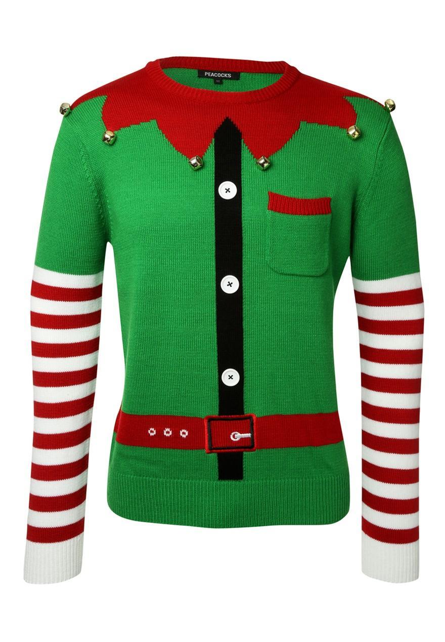 Mens Elf Christmas Jumper Peacocks