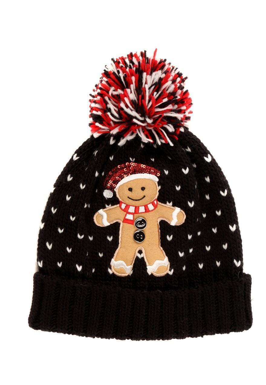 Womens Ladies Gingerbread Man Beanie