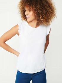 Womens White Frill Sleeve T-Shirt
