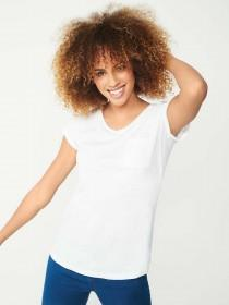 Womens White V-Neck T-Shirt