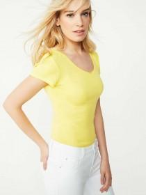 Womens Yellow V-Neck T-Shirt
