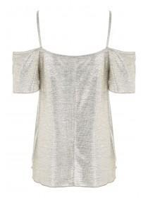 Womens Cold Shoulder Metallic Top