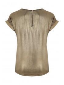 Womens Gold Metallic Zip Back T Shirt