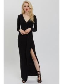 Jane Norman Black Wrap Maxi Dress