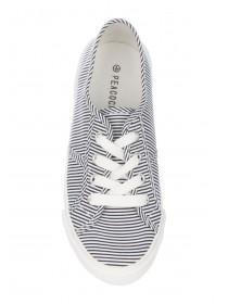 Womens Striped Laceup Casual Trainers