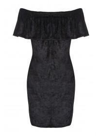 Womens Black Velvet Bardot Dress