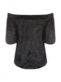 Womens ENVY Black Velvet Bardot