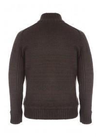 Mens Dark Brown Sherpa Knitted Jacket