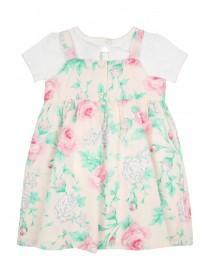 Baby Girls Pink Woven Bow Dress & T-shirt Set