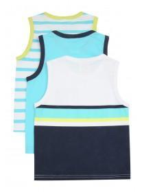 Younger Boys 3PK Blue Contrast Binding Vests
