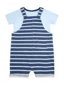 Baby Boys Blue Stripe Dungaree Set