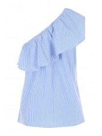 Womens Striped One Shoulder Frill Cami Top