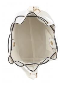 Womens White Drawstring Bucket Bag