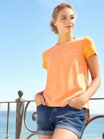 Womens Orange Woven Front T-Shirt